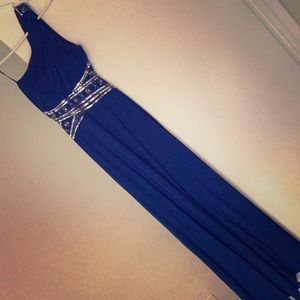 Royal Blue backless gown